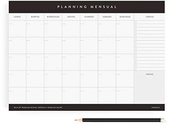 Planificador Mensual Charuca 100% Productividad