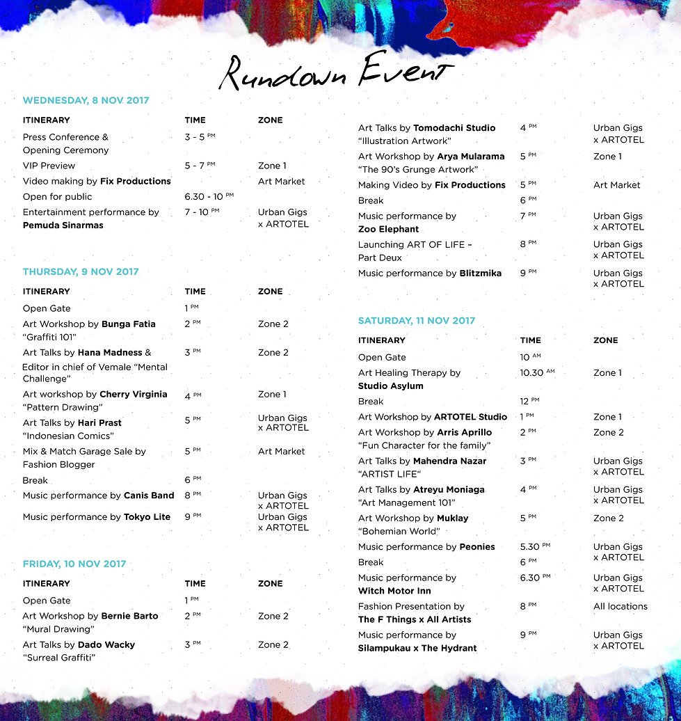 rundown event - artotel week