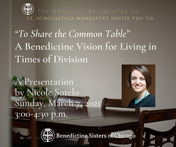 """""""To Share the Common Table""""  A Benedicti"""