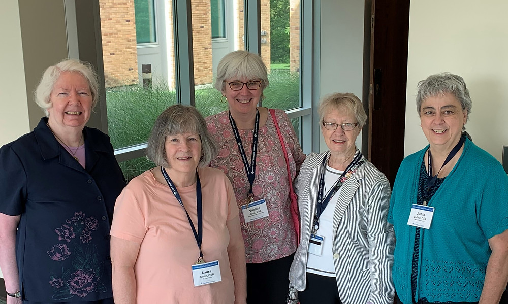 Benedictines at the Conference of History of Women Religious last month. L to R: Sister Mary Ann O'Ryan, OSB (Chicago), Sister Laura Swann, OSB (Lacey, WA), Sister Virginia Jung, OSB (Chicago), Sister Rebecca Abel, OSB (Ferdinand, IN), and Sister Judith Sutera, OSB (Atchison). (Photo courtesy of Sister Rebecca Abel, OSB (Ferdinand, IN)).