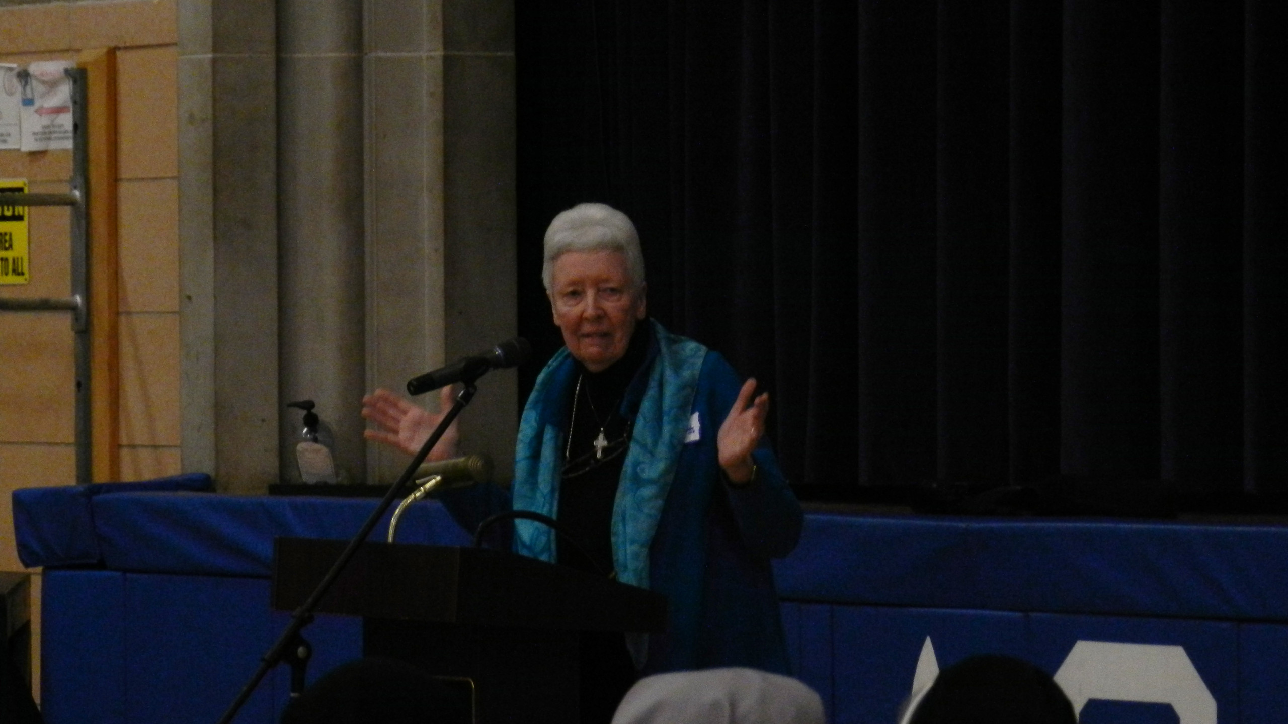 Sister Patricia Crowley, OSB addressing the group