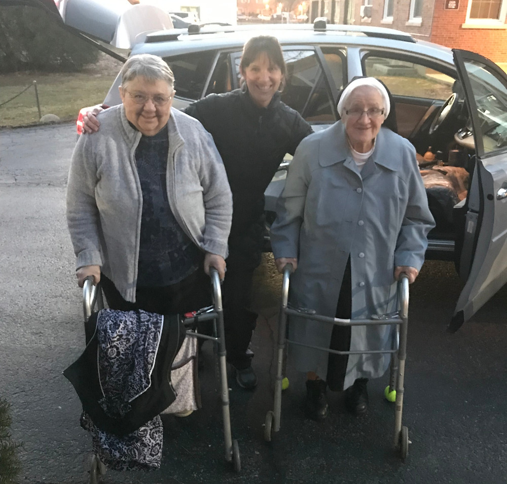 Left to right: Sister Mariella, Nurse Jeannie, and Sister Victoria returning from their March 2019 road trip to Pennsylvania.