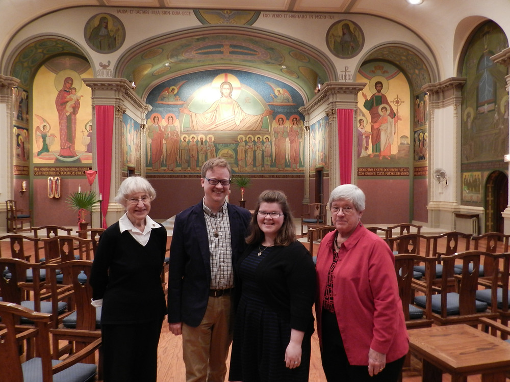 From left to right, Sister Benita Coffey, OSB, (Director of Oblates) Benedict and Rachel Hane, and Prioress Sister Judith Murphy, OSB following the Oblation ceremony held Sunday, March 25, 2018.