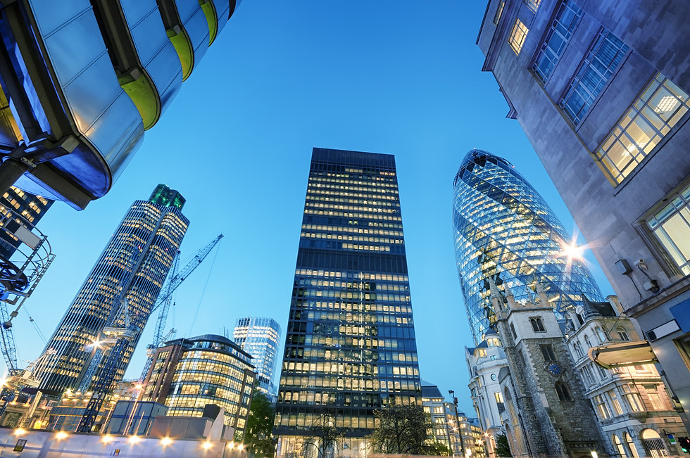 Skyscrapers at the City of London at nig