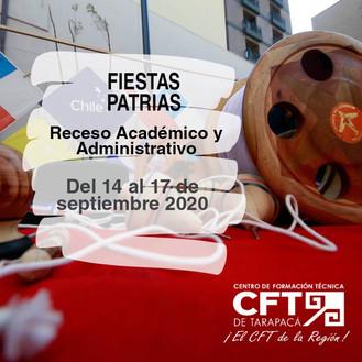 Receso Fiestas Patrias 2020 del 14 al 17 de septiembre