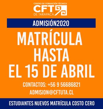 Matrícula costo cero hasta el 15 de abril para estudiantes nuevos