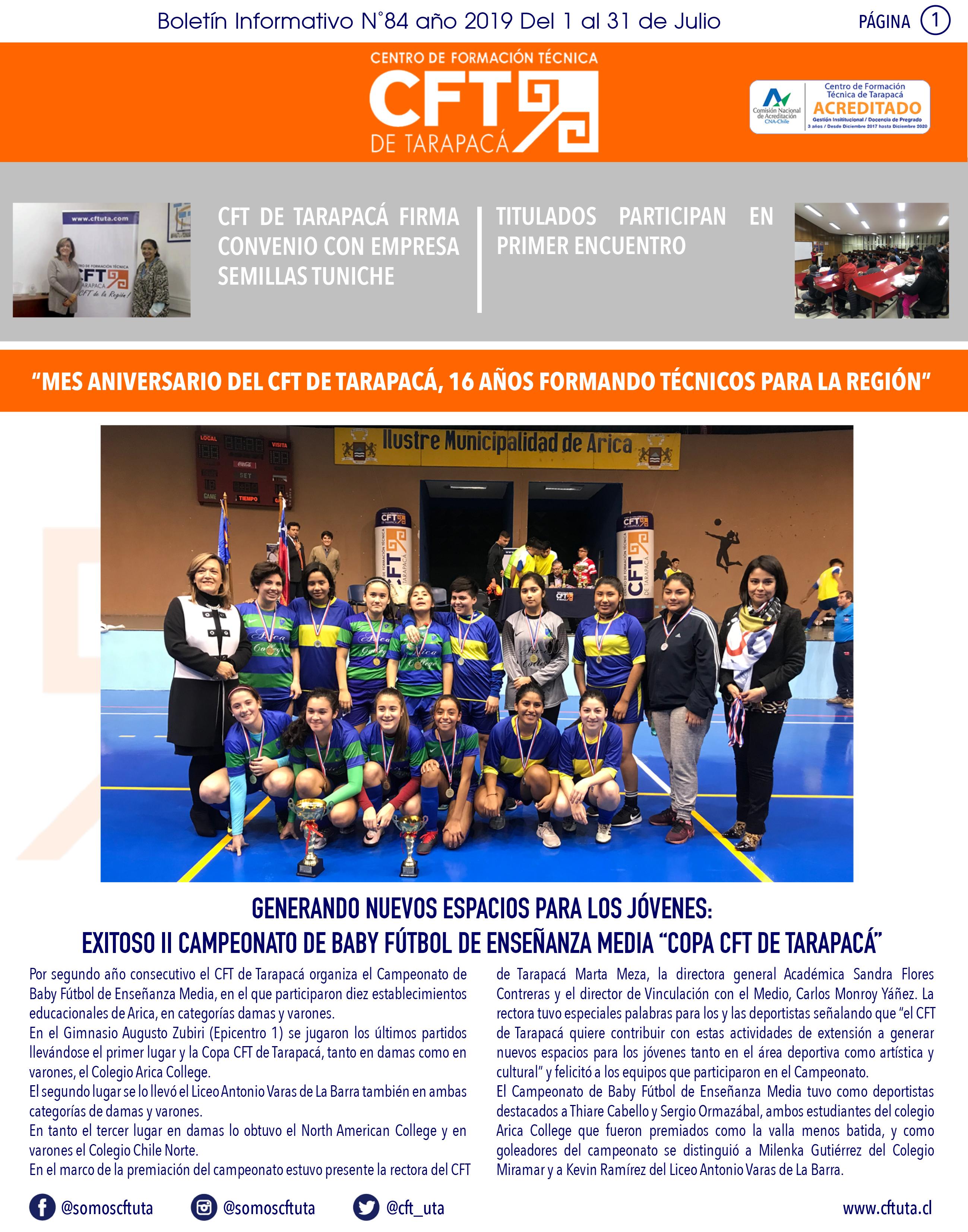Boletín N°84 CFT de Tarapacá