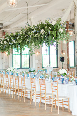 White and Blue Hanging Intall
