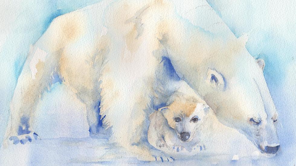 Polar Bear Mom and Pup