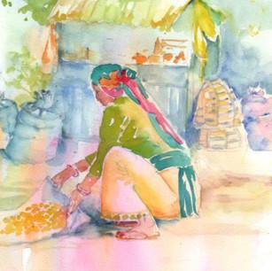 Nepali Woman Drying Corn