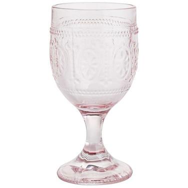 Pink Pressed Water Goblet