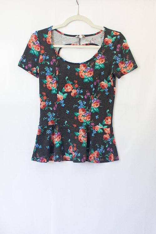 Floral Heart Cutout Shirt (M)