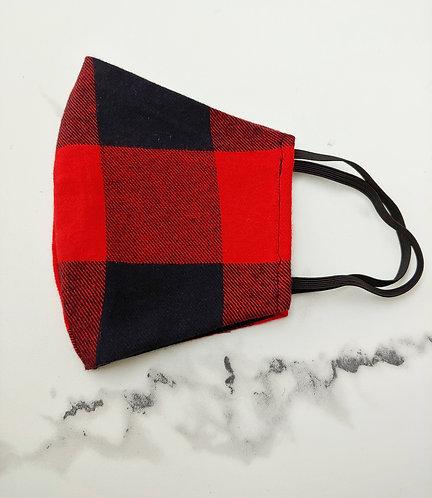 Red & Black Buffalo Plaid Mask