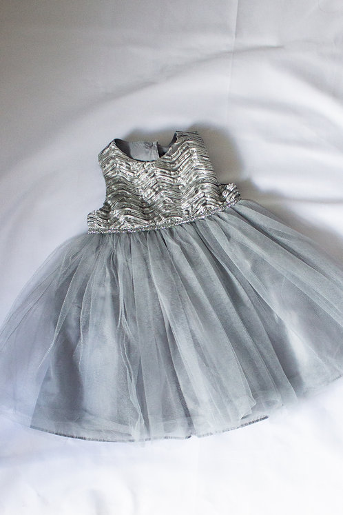 Silver Dress & Diaper Cover(18M)