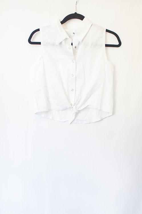 White Crop Button Down (M)