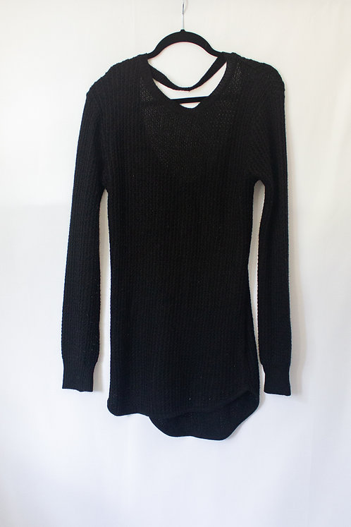 Long Black Sweater with Back Cutout (M)