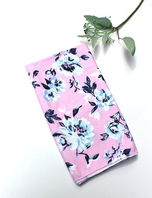 Pink Floral Receiving Blanket