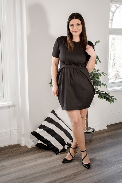T-shirt Wrap Dress-Black