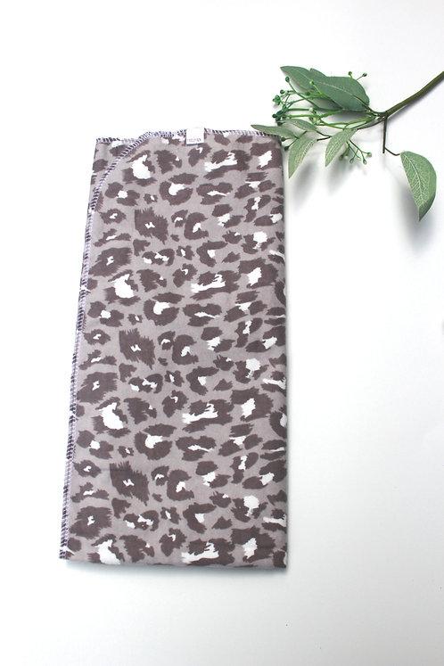 Grey Cheetah Receiving Blanket