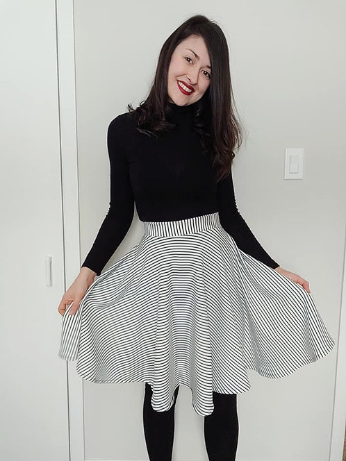 B&W Stripe Skirt