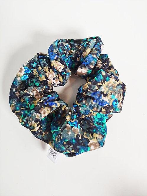 Blue Floral Print Scrunchie