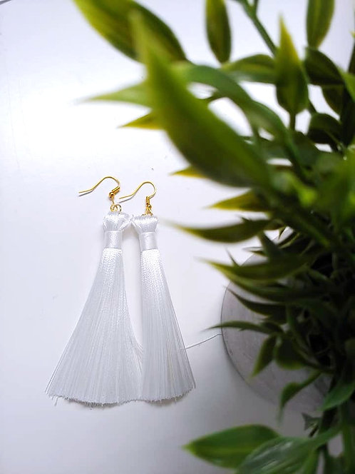 Fringe Earrings - White