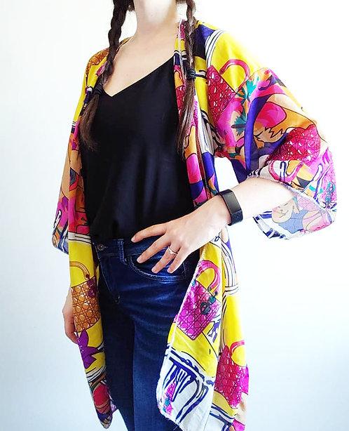 Long Multi-Colour with Yellow Kimono