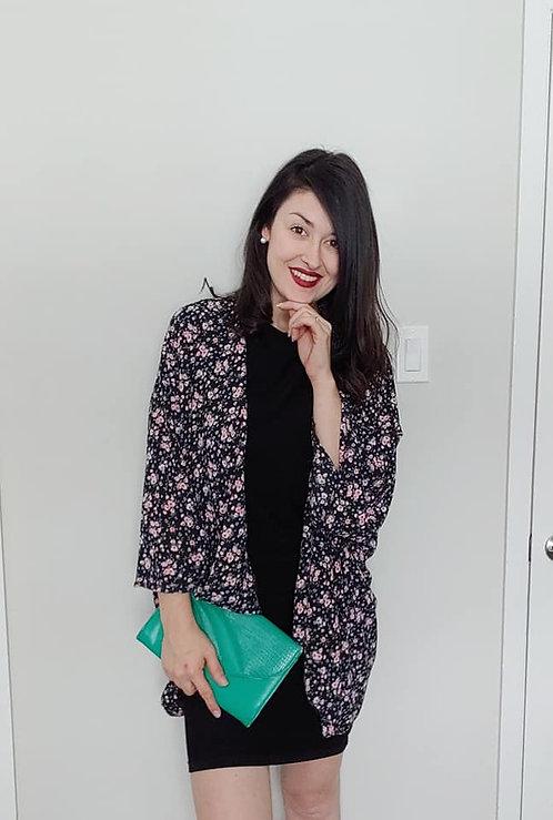 Black & Pink Floral Kimono