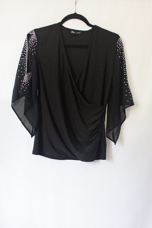 Black Top With Flowy Sleeves (M)