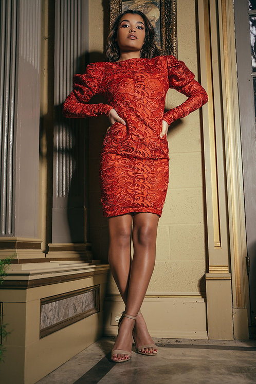 RED PUFF SLEEVE DETAIL BODYCON DRESS