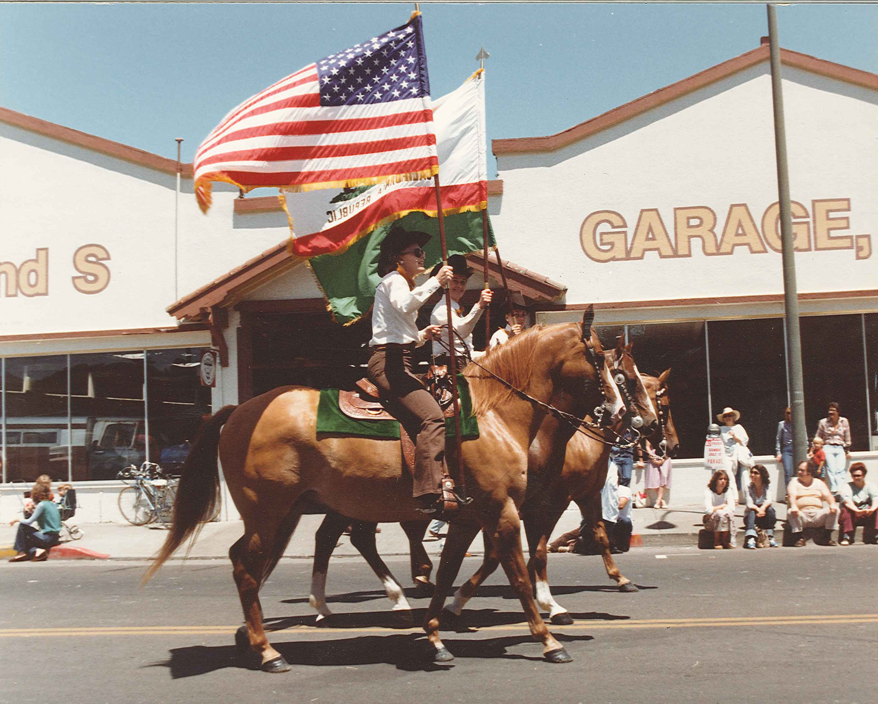 Tamalpais Color Guard at the San Rafael Town Parade & Picnic 1981- Kathy Miller on the outside (2)