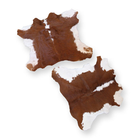 Small brown and white cowhide  Quantity:2