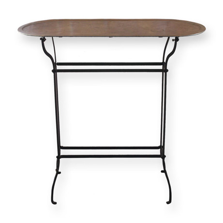 Tall Slim Table  Simple iron accent table with a zinc top.  Dimensions:  Quantity:1