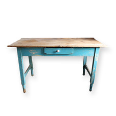 Teal Table  Vintage wooden table with a single front drawer and chippy teal base.  Dimensions: 26 x 54 x 30 Quantity : 1