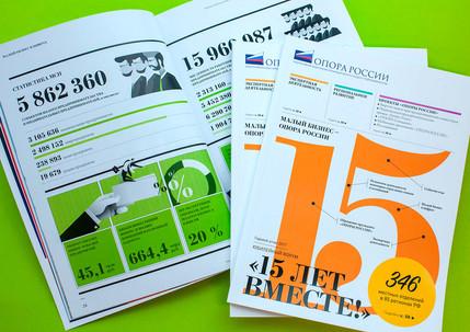 Разработка дизайн-концепции, инфографики и контент-менеджмент для юбилейного отчета «Опора России – 15 лет вместе»