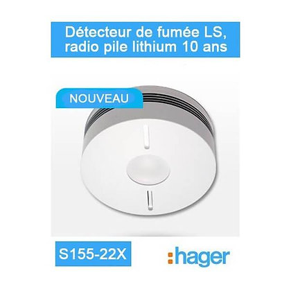 Détecteur de fumée LS, radio pile lithium 10 ans - Logisty Hager - S155-22X