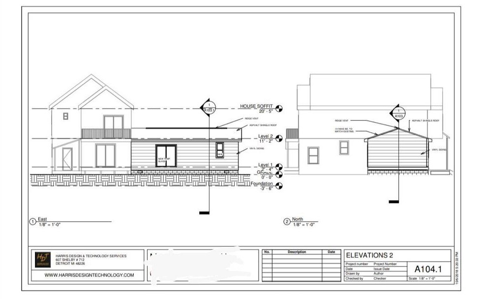 Remodel/Addition Plan Dimensions Elevation 2 (Side)