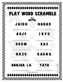 MU Girls Scramble Words