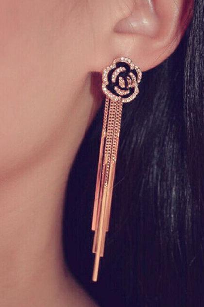 Crystal Long Tassel Earrings
