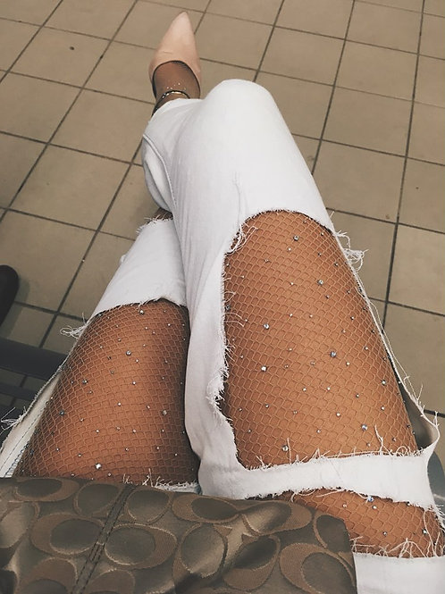 Glitter Fishnet Tights - Nude