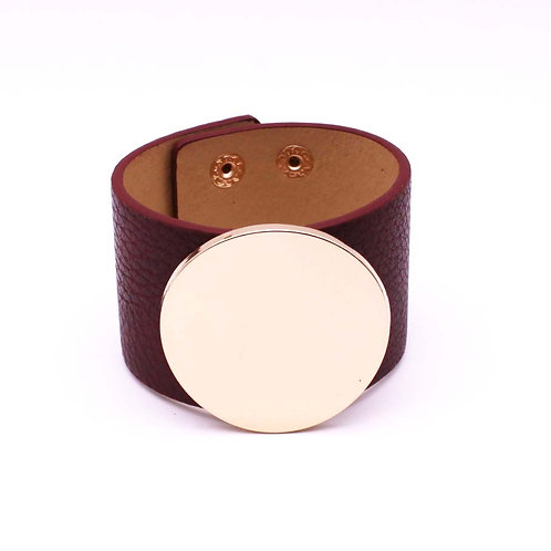 Leather Solid Circle Cuff