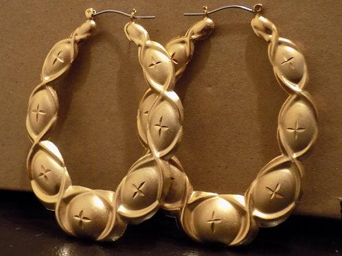 24K Door Knocker Bamboo Earring - Oval