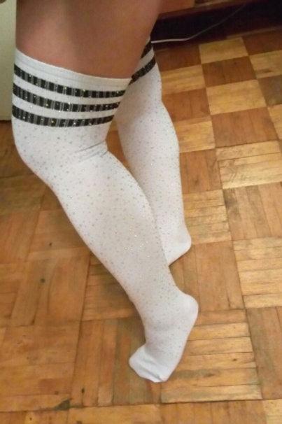 Glitter Thigh Socks - Black & White