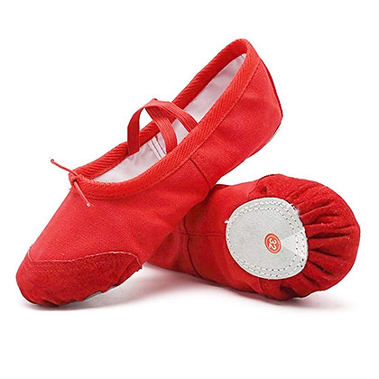 Canvas Ballet Slipper w Leather Toe