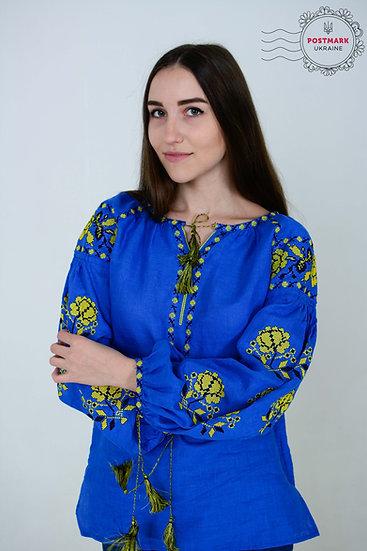 Dyka Troyanda (yellow on blue)