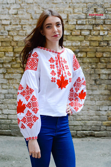 The Maple Leaf Vyshyvanka for Her (machine embroidery))