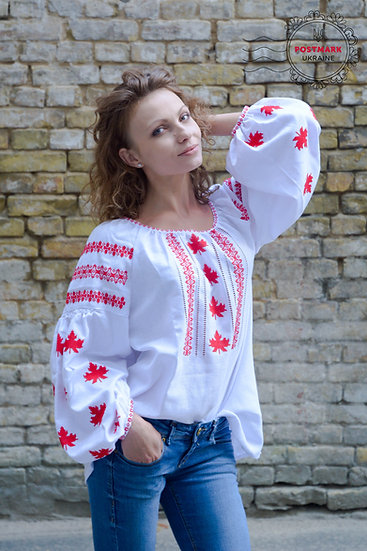 The Maple Leaf Vyshyvanka For Her (hand embroidered)