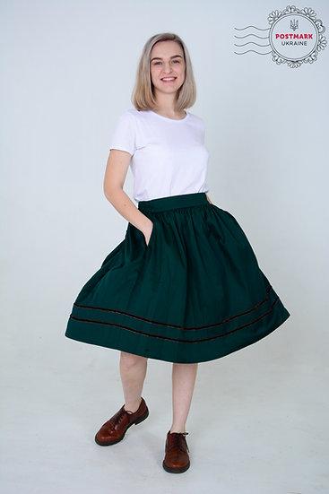 Central Ukraine Circle Skirt (emerald)