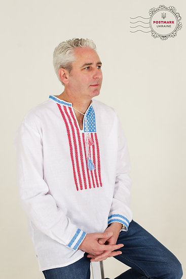 The Star Spangled Vyshyvanka for Him (hand embroidered)