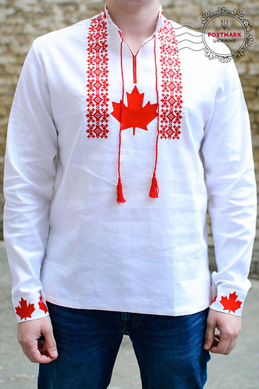 The Maple Leaf Vyshyvanka for Him (machine embroidered)